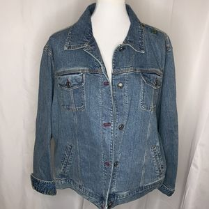 Chico's Embroidered Denim Jacket, Size XL